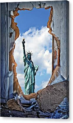 Statue Of Liberty Canvas Print - Liberty Stands by Zin Shades