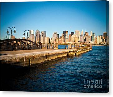 Liberty State Park Pier Canvas Print by Valerie Morrison