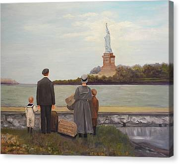 Liberty View From Ellis Island Canvas Print by Sandra Nardone