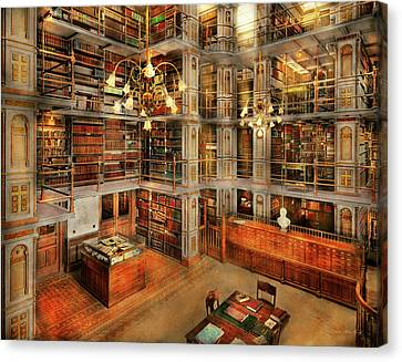 Library - A Literary Classic 1905 Canvas Print by Mike Savad