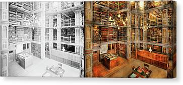 Library - A Literary Classic 1905 - Side By Side Canvas Print by Mike Savad