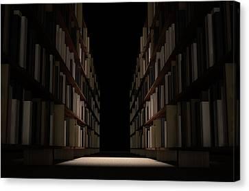 Library Bookshelf Aisle Canvas Print by Allan Swart