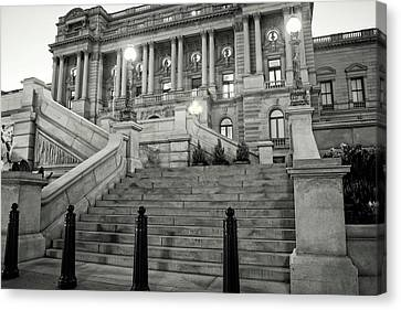 Canvas Print featuring the photograph Library Of Congress In Black And White by Greg Mimbs