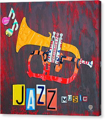 License Plate Art Jazz Series Number One Trumpet Canvas Print by Design Turnpike