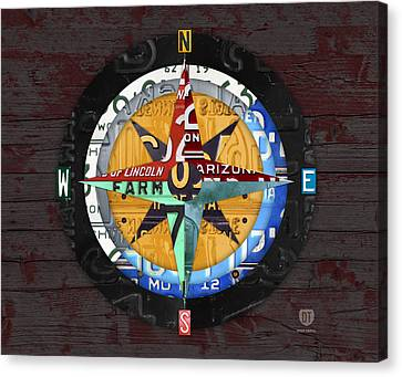 License Plate Compass North South East West Road Trip Letters On Old Red Barn Wood Canvas Print by Design Turnpike