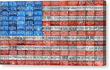 License Plate Flag Of The United States Canvas Print by Design Turnpike