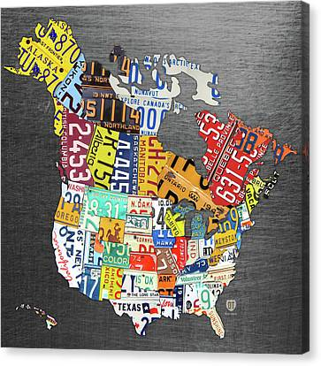 License Plate Map Of North America Canada And The United States On Gray Metal Canvas Print by Design Turnpike