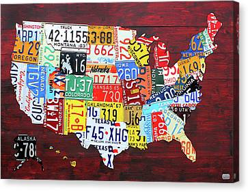 Tag Art Canvas Print - License Plate Map Of The United States Custom Edition 2017 by Design Turnpike
