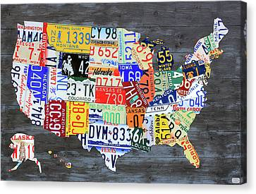 License Plate Map Of The United States Gray Edition 16 With Special Kodiak Bear Alaska Plate Canvas Print by Design Turnpike