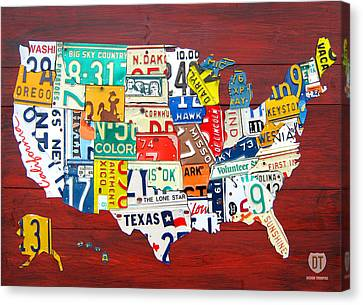 License Plate Map Of The United States - Midsize Canvas Print by Design Turnpike