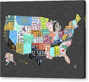 License Plate Map Of The United States On Gray Felt Large Format Sizing Canvas Print