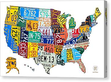 License Plate Map Of The United States Outlined Canvas Print by Design Turnpike