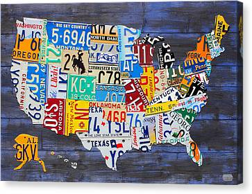 License Plate Map Of The Usa On Blue Wood Boards Canvas Print by Design Turnpike