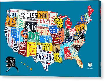License Plate Map Of The Usa On Royal Blue Canvas Print by Design Turnpike