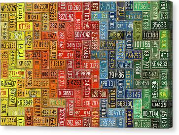 License Plates Of The United States Colorful Tile Pattern Art Canvas Print