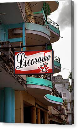 Licorama Bar Liquor Store In Havana Cuba At Calle 6 Canvas Print by Charles Harden