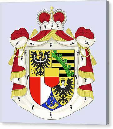 Canvas Print featuring the drawing Liechtenstein Coat Of Arms by Movie Poster Prints