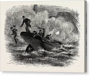 Barker Canvas Print - Lieutenant Cushing's Attack On The Albemarle by American School