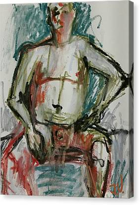 Canvas Print featuring the drawing Life Drawing 22nov2017 by Jim Vance