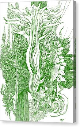 Life Force  - Green Canvas Print by Charles Cater