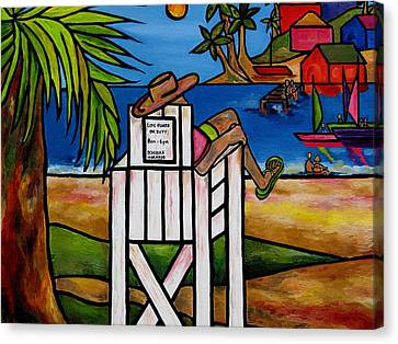 Life Guard In Jamaica Canvas Print by Patti Schermerhorn