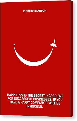 Life Happiness Quote Richard Branson  Quotes Poster Canvas Print by Lab no 4 The Quotography Department
