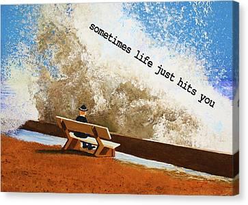 Life Hits You Greeting Card Canvas Print by Thomas Blood