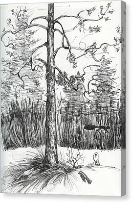 Canvas Print featuring the drawing Life In The Forest by Anna  Duyunova