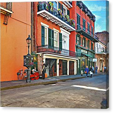 Wrought Iron Bicycle Canvas Print - Life In The Quarter - Paint by Steve Harrington
