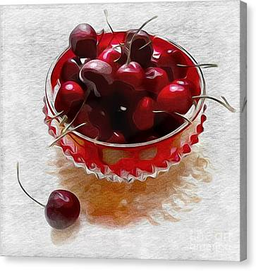 Canvas Print featuring the digital art Life Is A Bowl Of Cherries by Alexis Rotella