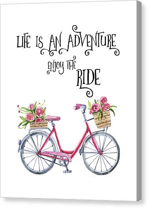 Bicycle With Flowers Canvas Print - Life Is An Adventure Enjoy The Ride  - Red Bicycle With Flowers Watercolor - Motivational Quote by Robert King