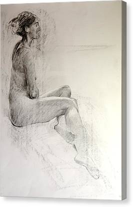 Canvas Print featuring the drawing Life Study by Harry Robertson