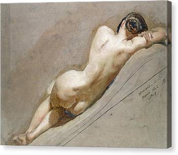 Woman Nude Canvas Print - Life Study Of The Female Figure by William Edward Frost