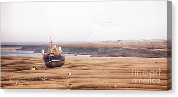 Lifeboat Stranded At Low Tide In Norfolk Canvas Print
