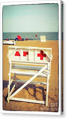 Canvas Print featuring the photograph Lifeguard Chair - Asbury Park by Colleen Kammerer