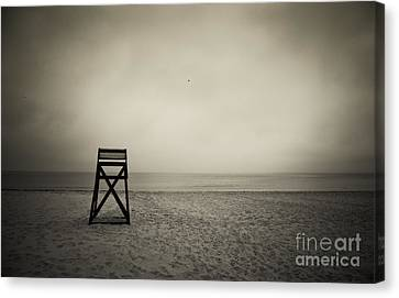 Empty Chairs Canvas Print - Lifeguard Stand  by John Greim