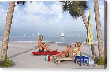 Canvas Print featuring the digital art Life's A Beach by Jayne Wilson