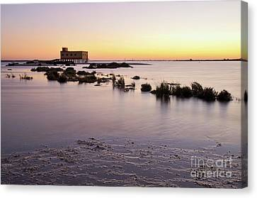 Lifesavers Building And Tides In Fuzeta Canvas Print by Angelo DeVal