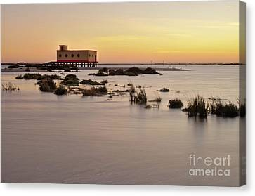 Lifesavers Building At Dusk In Fuzeta. Portugal Canvas Print by Angelo DeVal