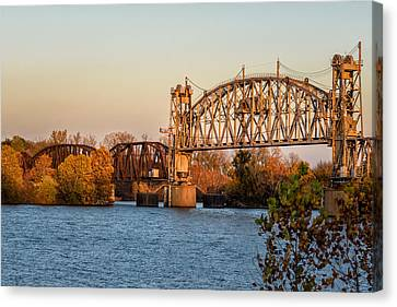 Jamesbarber Canvas Print - Lift Bridge At Sunset by James Barber
