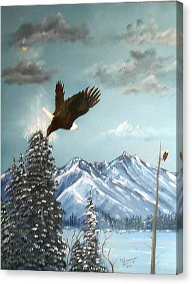 Canvas Print featuring the painting Lift Off by Al  Johannessen