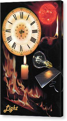 Oil Lamp Canvas Print - Light     Part Of The Time Series by Elisabeth Dubois