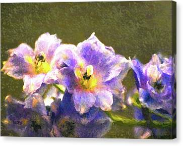 Light Blue Belladonna Delphiniums Canvas Print by Sandi OReilly