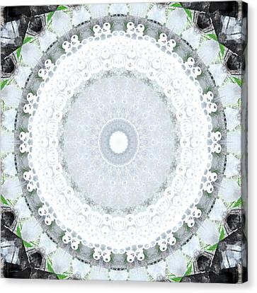 Light Blue Mandala- Art By Linda Woods Canvas Print by Linda Woods