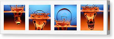 Light Bulb Drop In To The Water Canvas Print by Setsiri Silapasuwanchai
