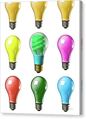 Canvas Print featuring the photograph Light Bulbs Of A Different Color by Bob Orsillo