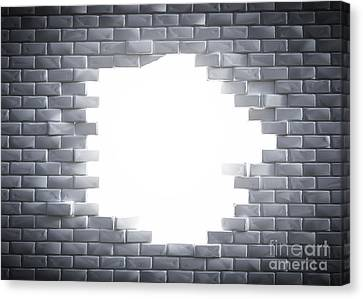 Light Coming Through A Hole In A Brick Wal Canvas Print by Michal Bednarek