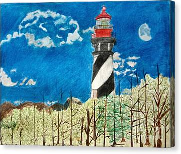 Light House By The Sea Canvas Print by Dale Ballenger