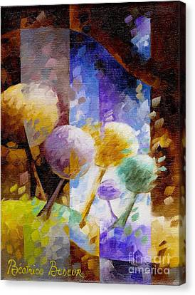 Inspirational. Pointillism Canvas Print - Light In Brown 042 by Beatrice BEDEUR