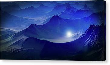Light In The Mountains Canvas Print by Jakob Seppip
